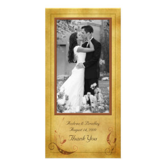 Vintage Fall Country Floral Wedding Photocard Personalized Photo Card