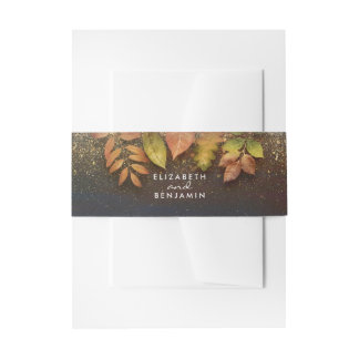 Vintage Fall Leaves and Gold Glitter Wedding Invitation Belly Band