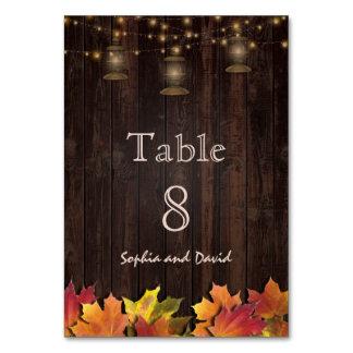 Vintage Fall Leaves Old Lanterns Wood Table Number