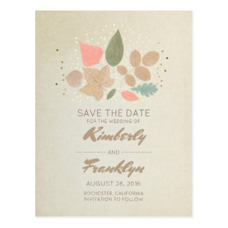 Vintage Fall Save the Date - Gold Dots Leaves Postcard