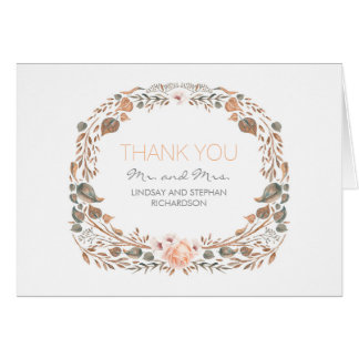 Vintage Fall Watercolor Woodland Wedding Thank You Card