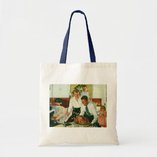 Vintage Family Cooking Thanksgiving Dinner Kitchen Budget Tote Bag