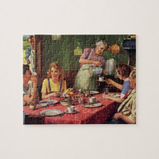 Vintage Family Eating Breakfast in the Kitchen Jigsaw Puzzle