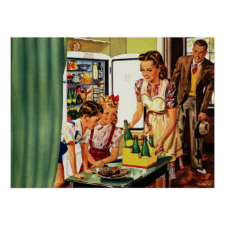 Vintage Family in the Kitchen Mom Dad Kids Snack Poster
