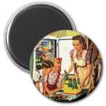 Vintage Family in the Kitchen Mum Dad Kids Snack 6 Cm Round Magnet