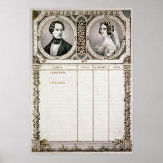 Vintage Family Register for Wedding Gift Idea Poster