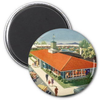 Vintage Family Restaurant with Customers Fridge Magnets