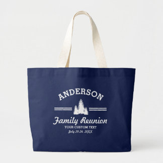 Vintage Family Reunion or Trip | Rustic Pine Trees Large Tote Bag