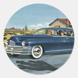 Vintage Family Travel, Last Chance Gas Station Round Sticker
