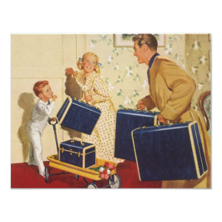 Vintage Family Vacation, Dad Children Suitcases 11 Cm X 14 Cm Invitation Card