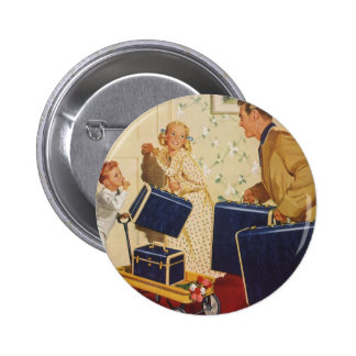 Vintage Family Vacation, Dad Children Suitcases Pinback Button