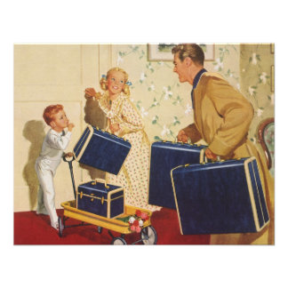 Vintage Family Vacation, Dad Children Suitcases Personalized Invitation