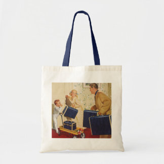Vintage Family Vacation, Dad Children Suitcases Tote Bag