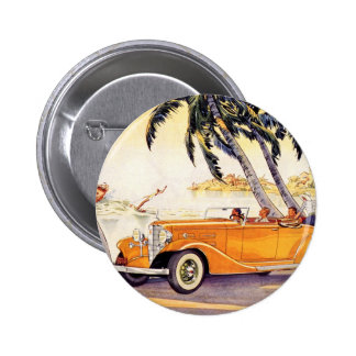 Vintage Family Vacation in a Convertible Car 6 Cm Round Badge