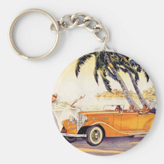 Vintage Family Vacation in a Convertible Car Basic Round Button Key Ring