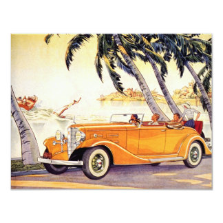 Vintage Family Vacation in a Convertible Car 4.25x5.5 Paper Invitation Card