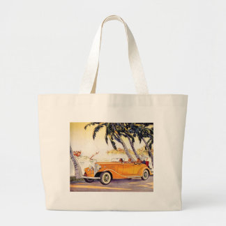 Vintage Family Vacation in a Convertible Car Jumbo Tote Bag