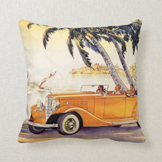Vintage Family Vacation in a Convertible Car Throw Pillow
