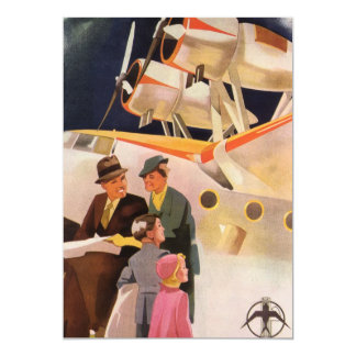 Vintage Family Vacation Via Seaplane w Propellers 13 Cm X 18 Cm Invitation Card