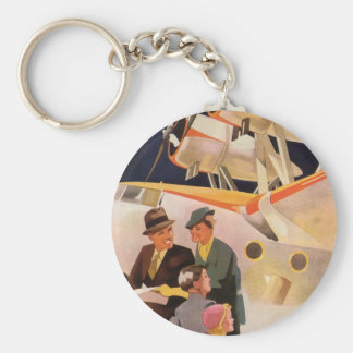 Vintage Family Vacation Via Seaplane w Propellers Basic Round Button Key Ring