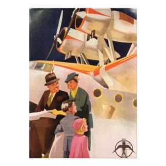 Vintage Family Vacation Via Seaplane w Propellers Invites