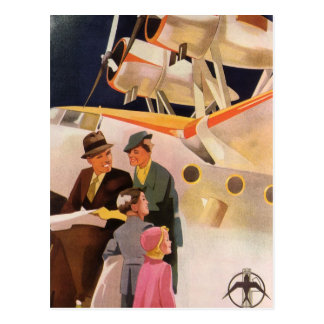 Vintage Family Vacation Via Seaplane w Propellers Postcard