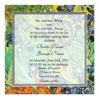 Vintage famous art, Van Gogh, Irises wedding 13 Cm X 13 Cm Square Invitation Card