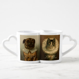 Vintage Fancy Cat and Dog in Ruffled Collars Lovers Mug Sets