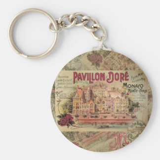 Vintage Fancy Monaco collage Monte Carlo Travel Basic Round Button Key Ring