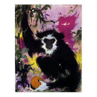 Vintage Far East Gibbon Monkey Travel Postcard