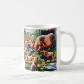 Vintage Farm Animals, Pig with Cute Baby Piglets Basic White Mug