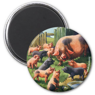 Vintage Farm Animals, Pig with Cute Baby Piglets Magnet