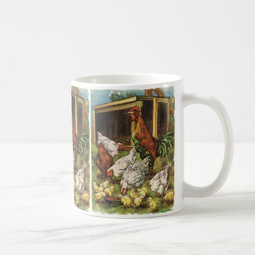 Vintage Farm Animals, Rooster, Hens, Chickens Coffee Mugs