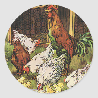 Vintage Farm Animals, Rooster, Hens, Chickens Round Sticker