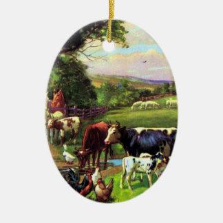 Vintage Farm Ceramic Ornament