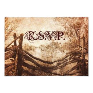vintage farm fence western country wedding RSVP 9 Cm X 13 Cm Invitation Card