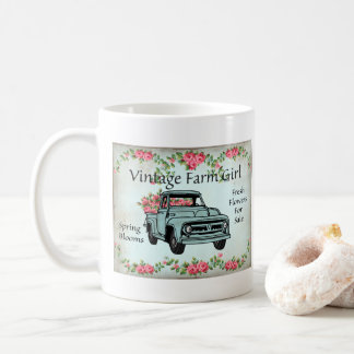 Vintage Farm Girl Country Nostalgic coffee mug