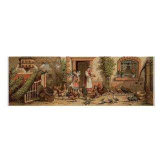 Vintage Farm House mother and Daughter Print