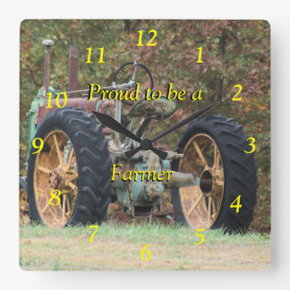 Vintage Farm Tractor Clock- customize it Square Wall Clock