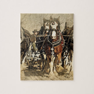 Vintage farmer with horses puzzle
