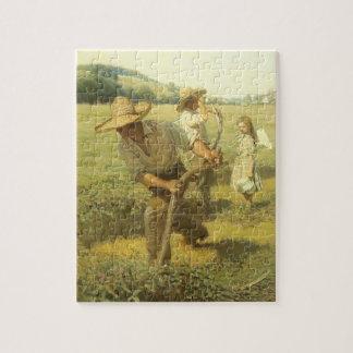 Vintage Farmers, Back to the Farm by NC Wyeth Jigsaw Puzzle
