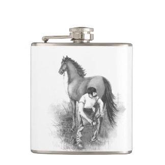 Vintage Farrier Horse Shoeing Black White Art Hip Flasks