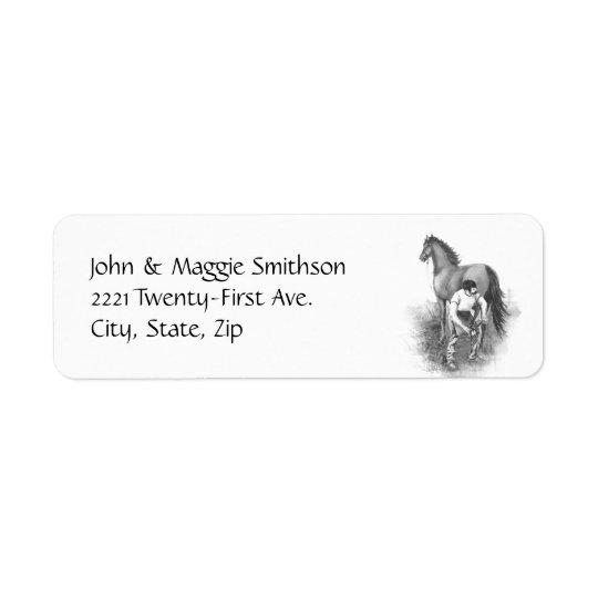 Vintage Farrier Horse Shoeing Black White Art Return Address Label