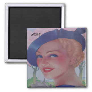 Vintage Fashion 1934 Square Magnet