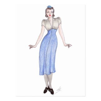 Vintage fashion art - 1930s dress postcard