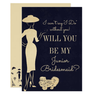 Vintage Fashion Be My Jr. Junior Bridesmaid Card