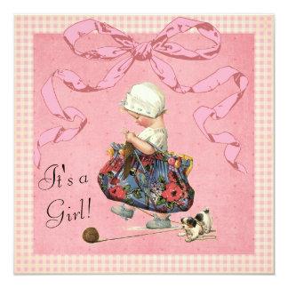 Vintage Fashion Girl Pink Ribbon Baby Shower 13 Cm X 13 Cm Square Invitation Card
