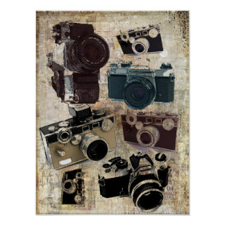 Vintage  fashion Grunge Retro Camera Poster