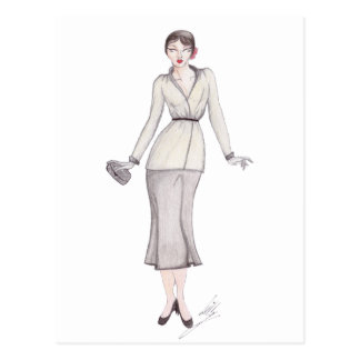Vintage Fashion Illustration - 1930s day wear Postcard