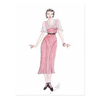 Vintage Fashion Illustration - 1930s tea dress Postcard